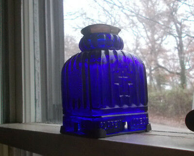 Glafey Odeon Nurnberg Rare Cobalt Blue Glass Christmas Candle Lamp Brass Base
