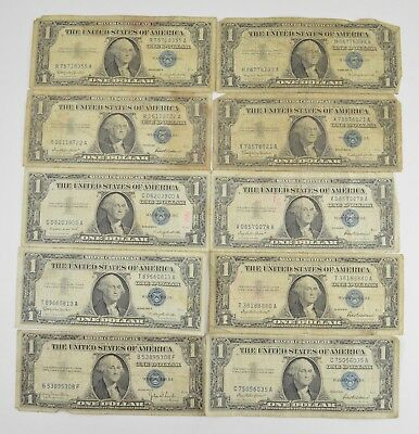 Lot (10) $1.00 1935/1957 Silver Blue Seal Certificate Notes Collection US *815