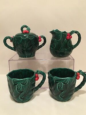 Vintage Christmas Lefton Holly Sugar Creamer And 2 Cups