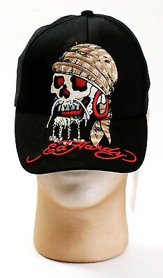 Ed Hardy Kids Black Embroidered Tattoo Skull Graphics Youth Boy's One Size NWT