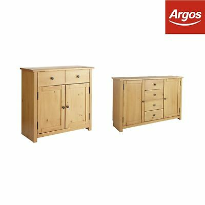Argos Home Porto Solid Wood Sideboard - Oak Effect - Choice of Doors & Drawers