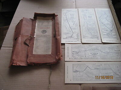 Collectible 1920's AAA Strip Maps with Holder 5 Maps
