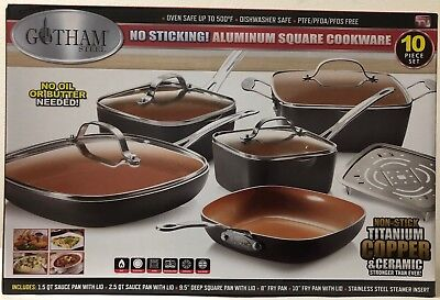 Gotham Steel Square 10-Piece Nonstick Copper Frying Pan & Cookware Set 1777 NEW