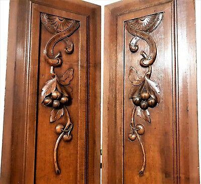 Pair farmouse country cottage panel Antique french wooden salvaged furniture