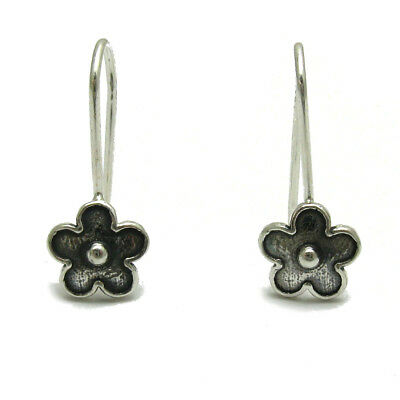 Small sterling silver earrings solid 925 Flowers on hook E000710H Empress