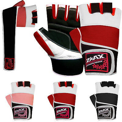 Weight Lifting Gloves Gym Training Body Building Leather Gloves Straps Fitness