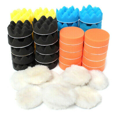 "50Pcs 3"" 80mm Mousse De Voiture éPonge Polir Polissage Polisseuse Kit Pad Set"