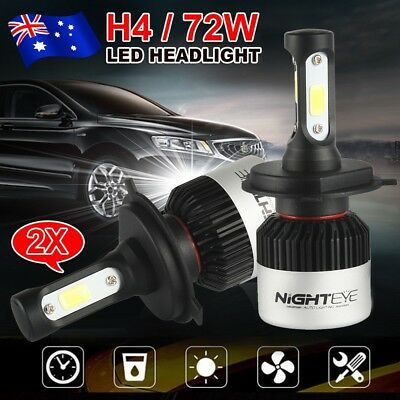 Nighteye H4 72W 9000LM HB2 LED Headlight Kit Hi/Lo Beam Globe Bulbs 6500K White