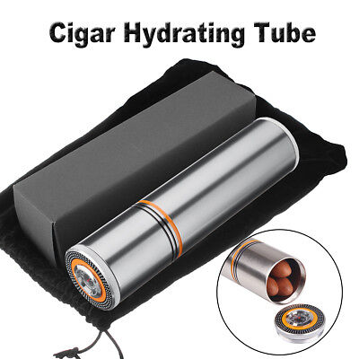 Portable Aluminum Cylindrical Travel Cigar Hydrating Tube Humidor & Hygrometer