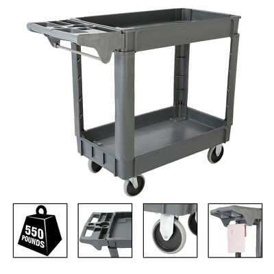 Multi-function Utility Service Cart 550 LBS Capacity 2 Shelves Rolling Tool Cart