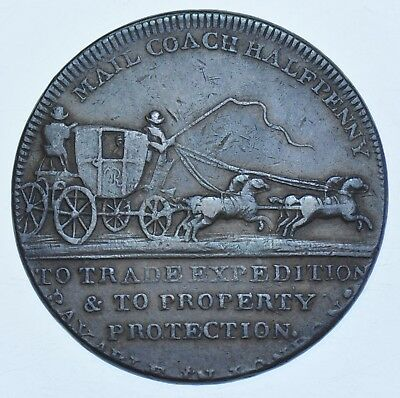 MIDDLESEX 18th CENTURY HALFPENNY TOKEN, ND PALMER'S MAIL COACH GVF