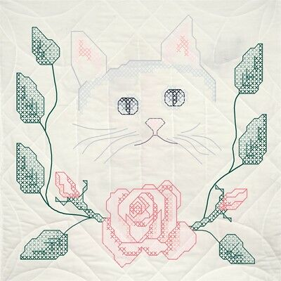 "Fairway Stamped Quilt Blocks 18""x18"" 6/pkg-cat W/ Roses"