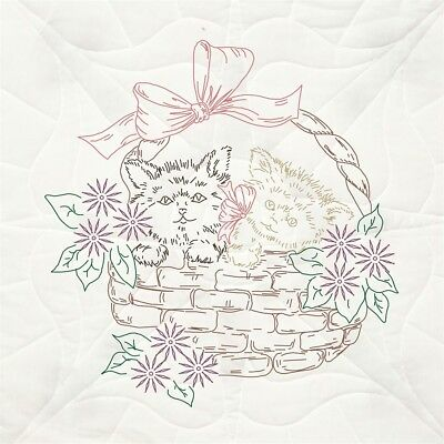 "Fairway Stamped Quilt Blocks 18""x18"" 6/pkg-kittens In Basket"