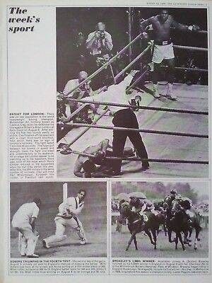 1966 PRINT MUHAMMAD ALI DEFEATS BRIAN LONDON - SOBERS IN THE 4th TEST v ENGLAND