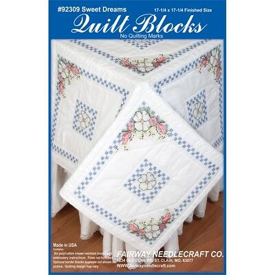 "Fairway Stamped Quilt Blocks 18""x18"" 6/pkg-sweet Dreams"