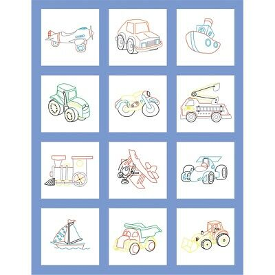 "Fairway Stamped Baby Quilt Blocks 9""x9"" 12/pkg-toy Vehicle"