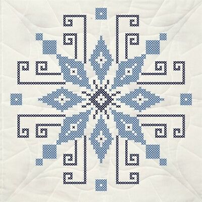 "Fairway Stamped Quilt Blocks 18""x18"" 6/pkg-cross Stitch Wheel"