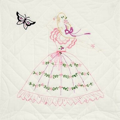 "Fairway Stamped Quilt Blocks 18""x18"" 6/pkg-butterfly Lady"