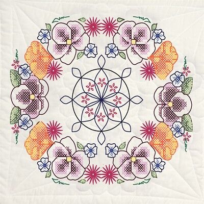 "Fairway Stamped Quilt Blocks 18""x18"" 6/pkg-pansy Circle"