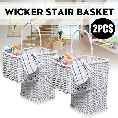 Wicker Handwoven Stair Step Storage Basket 2 Compartments Carry Handle rectangle