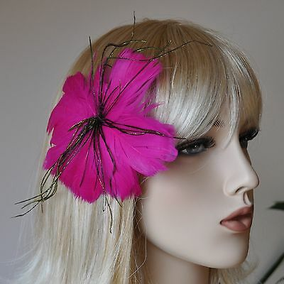 Feathers Buttonhole Flower Blooms Brooch 2 in 1 Hair Accessories Clip Pink Ef