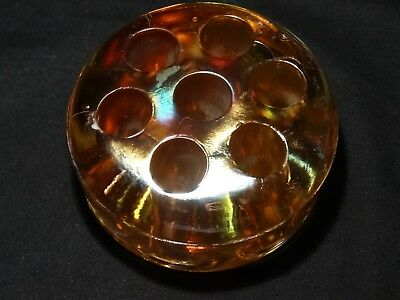 Vintage Small Iridescent Carnival Glass  7 Hole Orange Domed Flower Frog