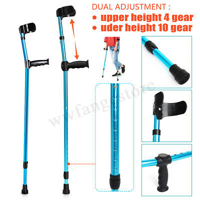 Forearm Crutches with Ergonomic grip - Adjustable Height Walking Aid Pair NEW AU