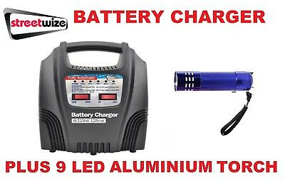 Streetwize 6/12v 12 Amp Fully Auto Car Battery Charger - SWBCLED12 & 9 LED Torch
