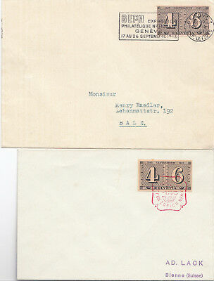 Switzerland two 1943 covers including the imperf from the miniature sheet
