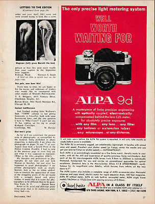 Alpa -Model 9d Camera - Original Magazine AD - 1965
