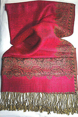 PASHMINA Scarf Cashmere Wool Silk Blend Fuchsia Gold Paisley Breast Cancer (S6)