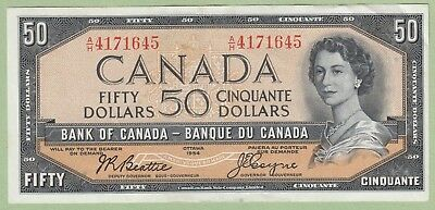 1954 Bank of Canada 50 Dollar Note - A/H4171645 - Beattie/Coyne - AU