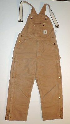 34 Mens 36W 30L Carhartt Brown Cotton Canvas Insulated Double Knee Bib Overalls
