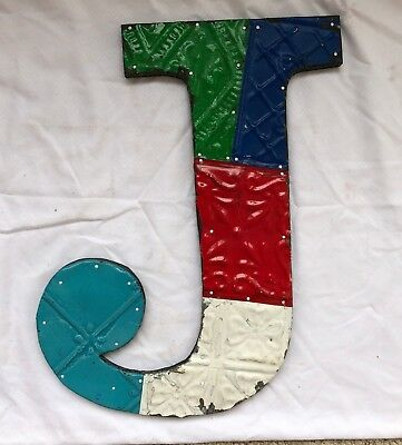 "1890's Antique Tin Ceiling Wrapped 16"" Letter ""J"" Patchwork Multi Color 554-18"