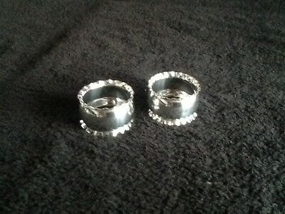 Lovely Pair Antique Silverplate Napkin Rings No Reserve