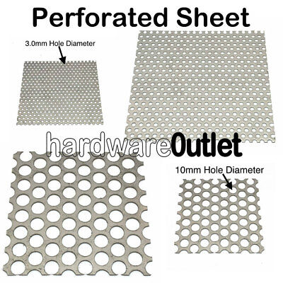 PERFORATED SHEET Metal Plate 3 or 10 mm Hole Aluminium Stainless Mild Steel