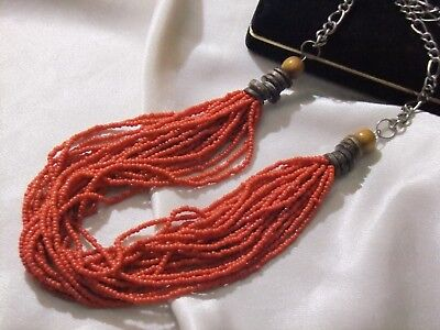 """Beautiful Vintage Coral Red Color Seed Bead Torsade Necklace 22 Strand 31"""""""