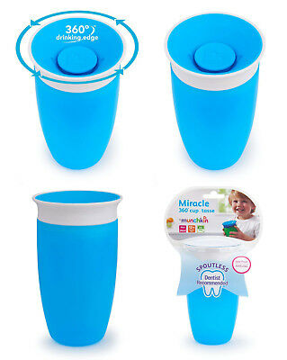 Munchkin Blue Miracle 360 Degree Sippy Cup Spill Proof Removable Valve 296ml