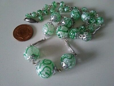 Vintage Venetian Green & White Art Deco Necklace
