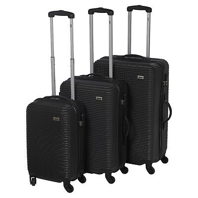 3pc Penn ABS Black 4 Wheel Spinner Suitcase Set Hard Shell Luggage Baggage Cases