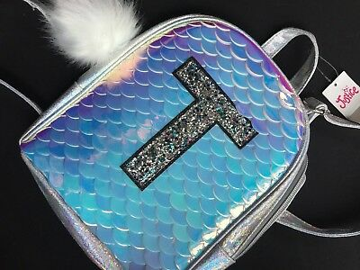 NWT Justice Initial T Mermaid Silver Bling Pompom Charm Scale MINI Backpack