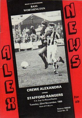 Crewe  V  Stafford Rangers 22/11/1988 Fa Cup Programme