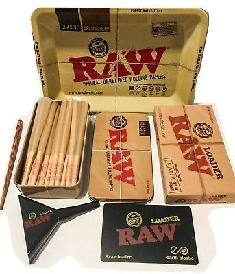 RAW LEAN Cones (15 COUNT) W TIN + Raw 1 1/4 Size CONE LOADER  + Raw Mini Tray