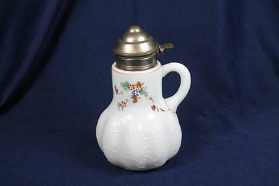 Victorian Milk Glass Enameled Syrup Pitcher Original Pewter Lid