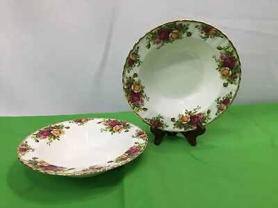 "Set of 2  Royal Albert OLD COUNTRY ROSES Soup Bowls w/ Rim 8"" Excellent"