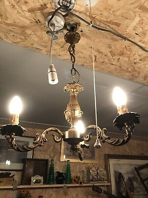 Antique French Gilted Chandeliers Lights Spares Or Repairs Reclaimed 3 Arm
