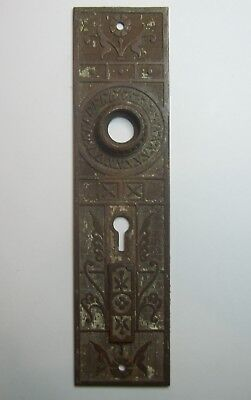 1 Antique Cast Brass / Bronze EASTLAKE Double Keyhole Cover Door Knob Backplate