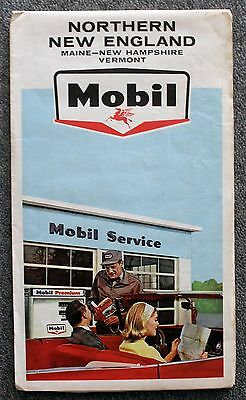 VINTAGE MOBILGAS Oil MOBIL New England Road Map MAINE VERMONT NEW HAMPSHIRE