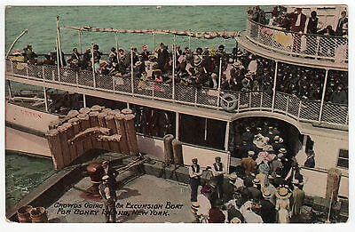 CONEY ISLAND PC Postcard NEW YORK CITY NYC NY Amusement Park EXCURSION BOAT