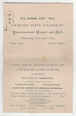 1890 MAINE STATE COLLEGE Commencement Concert Ball ORONO University RARE Bears